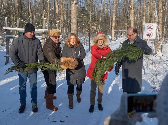 (L-R) Jim Hendry, with Eastern Ontario Model Forest, Frank Heerkens, representing the Ontario Maple Syrup Producers, Mayor Nancy Peckford, Councillor Doreen O'Sullivan and Deputy Mayor Jim McManaman at the announcement of the Kemptville Campus Forest Stewardship Certification.